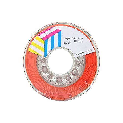 Eolas Prints | Filamento flexible 3D 100{c6701ceb4de39c4130c0b69a847f56b90b91a71f2b7de08edab1a1ce415f3bfc} TPU+ | Impresora 3D | Fabricado en España, Apto para usar con alimentos y crear juguetes | 1,75mm | 250g | Naranja