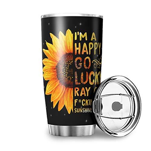 Wraill Taza de acero inoxidable con diseño de girasol y mariposas, con aislamiento de doble pared, taza de viaje con tapa, de acero inoxidable, taza de café, taza de té, color blanco, 600 ml