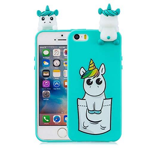 YuanYuZhongPhoneSky Funda para iPhone 5S, Carcasa para iPhone 5 Se 5C 5G, TPU Durable y Elegante 3D de Dibujos Animados Case Cover y a Prueba de Polvo con Dibujos Animados Caballo