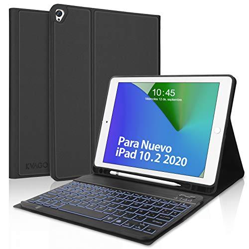 Teclado con Funda para iPad 10.2 2020(8ª Generación)/iPad 10.2 2019(7ª Generación),KVAGO Bluetooth Español Retroiluminado Teclado para iPad 10.2/iPad Air 3/iPad Pro 10.5,Case Ultra Slim,Negro