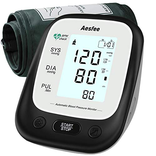 Blood Pressure Monitor Upper Arm for Home Use, Digital Blood Pressure Cuff Kit & Pulse Rate Monitoring Accurate Automatic BP Machines with Wide-Range Cuff, Dual User Mode, Large Backlit Display