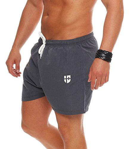 Gennadi Hoppe Herren Badeshorts kurz Badehose Strand Shorts Boardshorts,hell grau,Medium