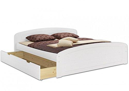 Erst-Holz - Letto funzionale, letto matrimoniale con cassettiere con rotelle e rete arrotolabile, dimensioni: 180 x 200 cm, letto per anziani, in legno massiccio, colore: bianco, 60.50-18 W