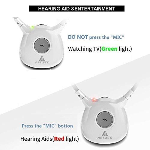 Wireless Hearing Aid Headset System,Artiste 2.4G TV Assistive Listening Headphones, Including Wireless Transmitter,For Elderly Hearing Aid Headset,2 Packs Battery-White