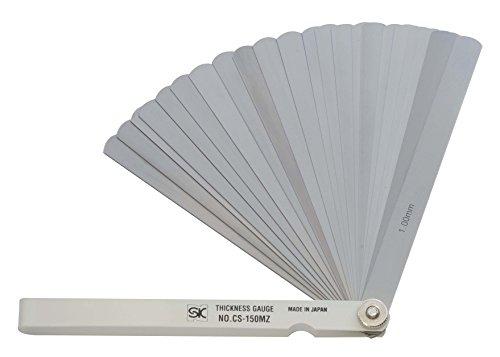 新潟精機 SK シクネスゲージ(すきまゲージ) カラースリーブタイプ 白 25枚組 150mm CS-150MZ 0.03-1.00mm