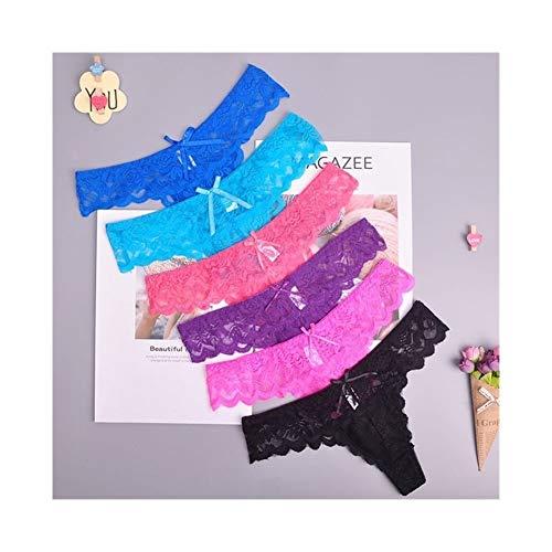 Linyuex Frauen Spitze bequem und atmungsaktiv Zapfen G-Schnur Unterwäsche-Schlüpfer Slips for Damen T-Back (Color : 87169random, Size : Small)