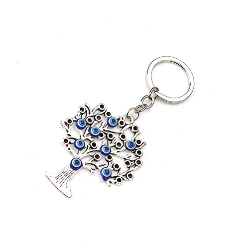 Bobvc sleutelhanger 1 Unid Blue Beads Tree Charm hanger rhodium metaal hanger geluksbrenger cadeau auto voor mannen vrouwen