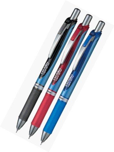 Pentel Energel Deluxe RTX Retractable Liquid Gel Pen,0.5mm, Fine Line, Needle Tip,Blue Body Type, Black.Blue.Red Ink-Each 1 Pens/Total 3 Pens Value Set(With our shop original description of goods)