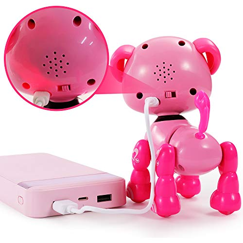 TEMI Smart Interactive Robot Puppy – Responds to Touch, Walking, Singing, Telling Stories, Repeat What You Said, Making Conversation, Electronic Pet Dog Toy for Kids 3+ USB Charger Included (PINK)