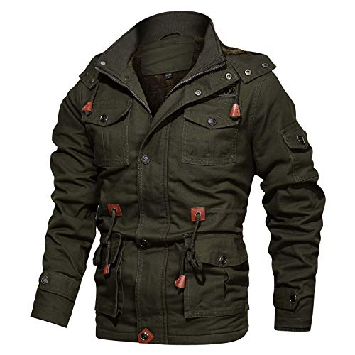Cargo Coat Men Outdoor Cotton Jackets Stand Collar Military Jackets Shoulder Straps Bomber Fleece Cargo Coats Field Coat for Men Multi Pockets Army Green