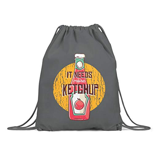 BLAK TEE More Tomatoes and More Ketchup Organic Cotton Drawstring Gym Bag Grey