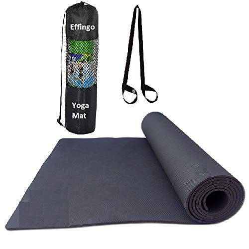 Effingo Yoga MAT with Bag & Strap Non Slip Yoga Mat Very Surface Sticky with Yoga mat Carry Strap and Yoga mat Bag for Gym, Workout, Yoga aasan (Black) (3MM)