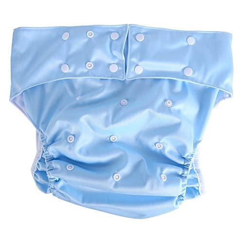 Leinggg volwassen luier 1PC volwassen herbruikbare wasbare doek luier luier luier Ultra absorberende incontinentie broek (lichtblauw)