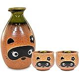 Mino Ware Traditional Japanese Sake Set, Tokkuri Bottle and 2 Ochoko Cups, Boy Bottle & Girl Cups Tanuki Japanese Racoon Dog Design