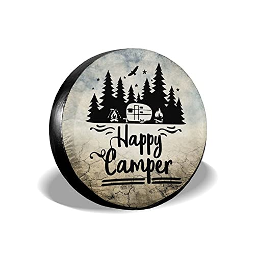 CENSIHER Happy Camper Spare Tire Cover RV Wheel Protectors Tire Covers Waterproof Dust-Proof Accessories for Camping Travel Trailer Tires and Wheels Jeep Wrangler, SUV, Truck Size 14 inch