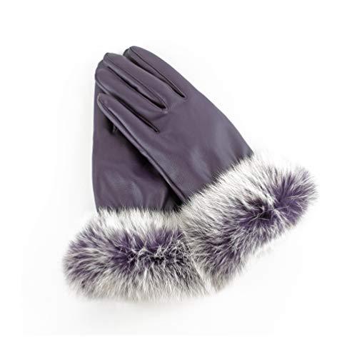 AXELENS Guantes Mujer Chica Invernales Pantalla Táctil Elegantes en Piel Ecológica Interior de Felpa Cálidos y Suaves, Puños de Piel Sintética, Smartphone Celular Teléfono Móvil - Talla S/M - VIOLETA