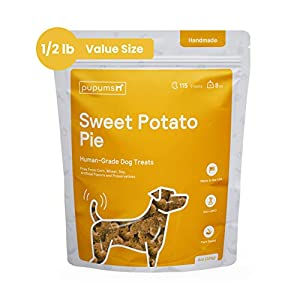 Pupums Healthy Sweet Potato Dog Treats | All Natural Dog Biscuits with 100% Human Grade and Non-GMO Ingredients | Made in The USA | Handcrafted | Made for All Dog Sizes and Ages | Various Flavors