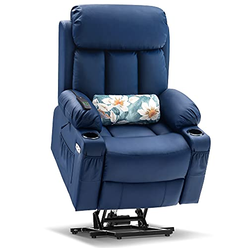 Mcombo Large Electric Power Lift Recliner Chair with Extended Footrest for Big and Tall Elderly People, Hand Remote Control, Lumbar Pillow, Cup Holders, USB Ports, Faux Leather 7426 (Blue)