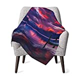 Baby Blanket Shrink Resistant Nursery Blankets Lake McDonald Glacier National Park Red Sky Pattern 30 X 40 Inch, Receiving Blankets for Sofa and Pet