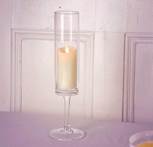 Bougeoir sur pied en verre fait main de 31 cm de haut   Bougeoir pilier