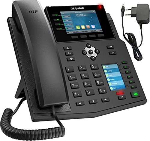 GEQUDIO IP Telefon GX5+ Set mit Netzteil Adapter - SIP VoIP - Fritzbox, Speedport kompatibel - Premium Freisprechen & 2X Farbdisplays - Deutsche Anleitung (PDF) für Fritz Box, Telekom Speedport