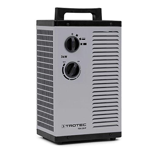 TROTEC Keramik Heizlüfter Elektroheizer TDS 20 P 3-stufig bis 3.000 Watt (3 kW) Bauheizer mit Thermostat