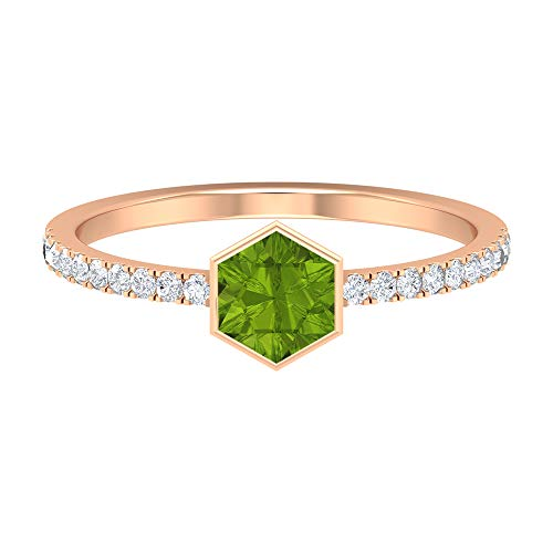 Rosec Jewels 14 quilates oro rosa round-brilliant-shape Hexagon H-I Green Diamond Peridoto creado en laboratorio