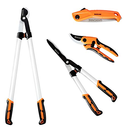 GARCARE Loppers Garden Shears Set - with 30 inch Tree Loppers Heavy Duty, 24 inch Hedge Clippers & Hedge Shears, 8 inch Secateur Pruning Scissors as Tree & Shrub Care Kit (4 In 1 Set)