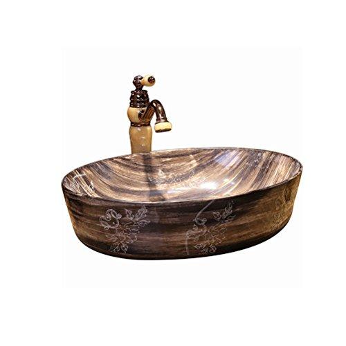 Au-dessus de lavabo de bassin de comptoir pour augmenter le grain de bois de bassin de lavage d'hôtel de bassin d'épaississement (56x41x15cm) Meubles-lavabos