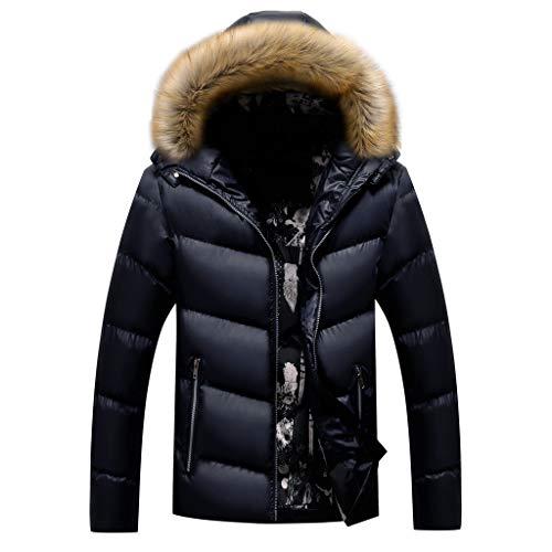 Kaiki Herren Winter-Mantel Steppmantel Lässige Lang Wintermantel Winterparka Jacke Mit Fur Hood, Reißverschlusstasche Outdoorjacke Wärmemantel (L, Blau)