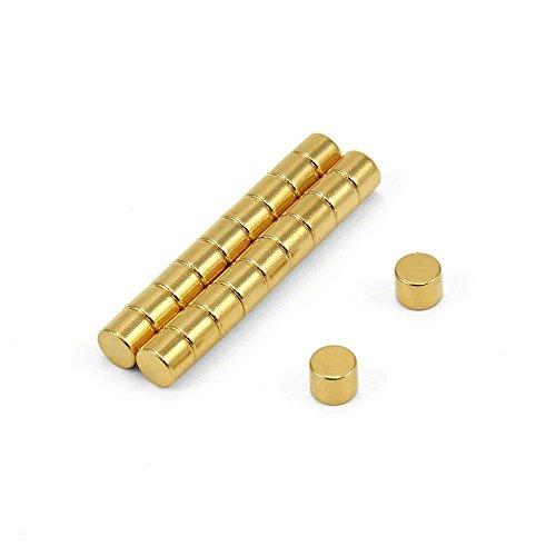 First4magnets F0504G-20 5mm Durchmesser x 4mm dicken N35 Neodym-Magneten - 0,66 kg ziehen (Gold plattiert) (Packung mit 20), Silver, 25 x 10 x 3 cm, Stück