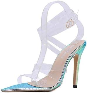 Women's Shoes Transparent Cross Belt Stiletto High Heel Sandals