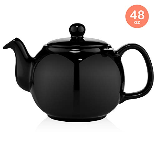 SAKI Large Porcelain Teapot 48 Ounce Tea Pot with Infuser Loose Leaf and Blooming Tea Pot  Black