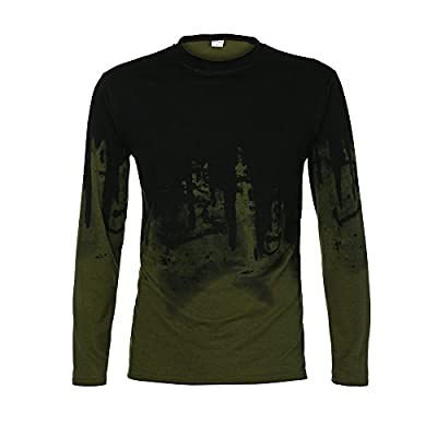 Mens Hipster Hip Hop Graffiti Print Slim Fit Long Sleeve Crew Neck T-Shirt Shirts Casual Tops Tee