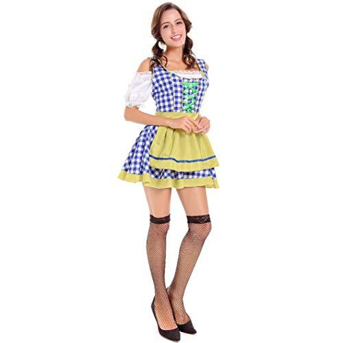 JMING Trachten Damen Dirndl Set - Midi Trachtenkleid Kurzarm Dirndlbluse Für Oktoberfest, Oktoberfest Kostüme Deutsch Wein Party Karneval Plaid Bier Kleidung Frauen Party Kleidung (XL,A)