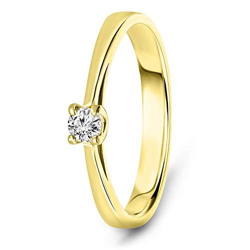 Miore Ring Damen 0.10 Ct Solitär Diamant Verlobungsring aus Gelbgold 14 Karat / 585 Gold, Schmuck