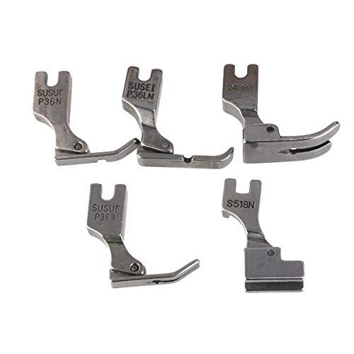 Yardwe Nähfüße Industrienähmaschinen (5 Stück) für S518ns P36ln P36n P351 P363 (Silber)
