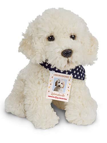 Teddy Hermann 91939 Hund Labradoodle 28 cm, Kuscheltier, Plüschtier, mit Sternchen-Halstuch, Sonderedition Lieblingshunde