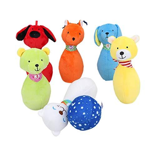 Luccase 6 Stücke Kinder Bowling Set Baby Bunte Plüschtiere Bowling Baumwolle Tiere Plüschball Bowlingkugel Figur Kreative Plüsch Puppe Spielzeug