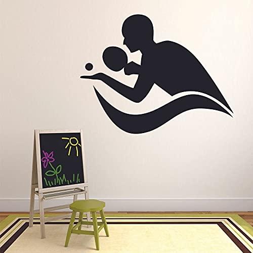 QIANGTOU Spielen Sie Tischtennis Wandtattoo Aufkleber Teen Schlafzimmer Gym Stadion Inneneinrichtung Ping Pong Silhouette Tür Fenster Vinyl 42x53cm