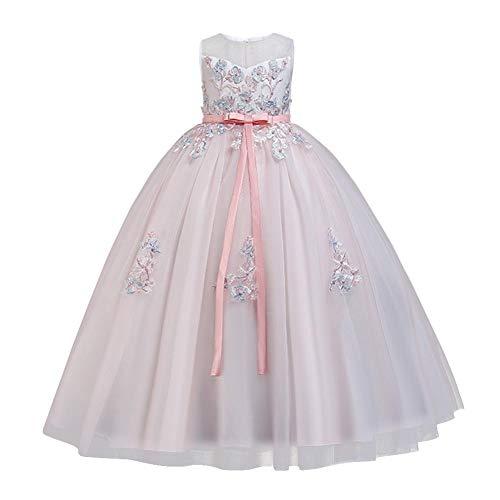 FYMNSI Vestido de niña de las flores para niños de la boda de la dama de honor de tul de la princesa largo vestido maxi para ocasiones formales fiesta de noche desfile vestidos de cóctel