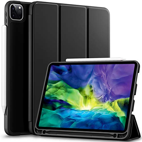 Vobafe Case Compatible with iPad Pro 11 2020/2018, TPU Protective Case Cover with Pencil Holder for iPad Pro 11 Inch 2020, Support 2nd Gen Pencil, Auto Wake/Sleep, Full Protection, Black