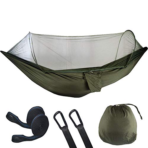 YGXS Camping Hammock with Mosquito Net, Light Portable Windproof for 2 People Anti-Mosquito Swing Outdoor Hammock for Outdoor Use Hiking Backpacking Traveling Etc,Army green