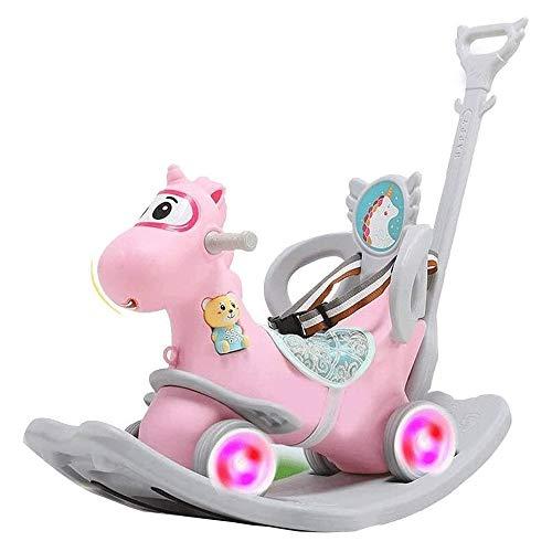 XWX Schaukelpferdespielzeug Für Kinder Baby Extra Größe 2~6 Jahre Alt Reitenwagen Mit Musik (Color : Pink)