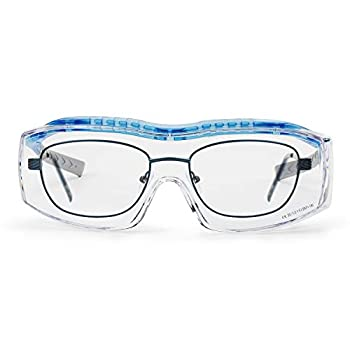 Solid safety glasses over eyeglasses | Protective eyewear with integrated side protection | Fits over prescription glasses | Clear anti-fog scratch-resistant UV-protective lenses | For men & women