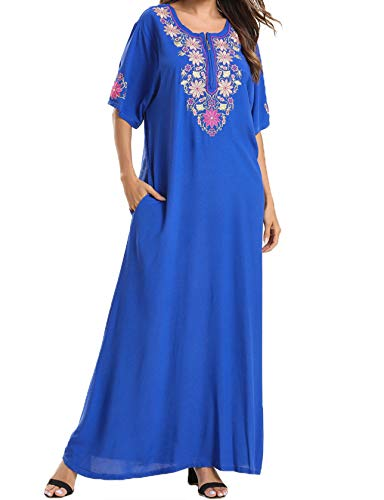 Qianliniuinc Abaya Arabische Elegante Kleidung Maxi - Frauen Islamische Kaftan Kleid Baumwolle Jalabiya Kleider Kurzarm Stickerei Vintage (Blau,M)