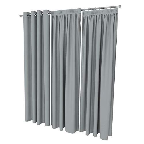ALOHA Vorhänge Vorhang Elegant Hochwertig Gardine für Schlafzimmer, Wohnzimmer Uni einfarbig Farbe und Größe wählbar (Grau/mit Kräuselband / 135cm x 240cm / 2er Set)