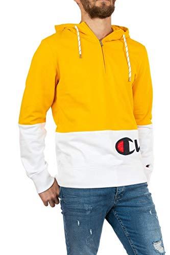 Champion - Sudadera con capucha y media cremallera para hombre, color Amarillo, talla XXL