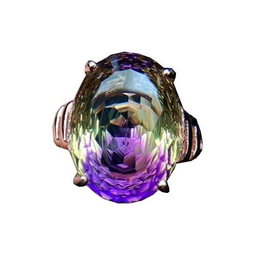 Natural colorido Ametrino cuarzo anillo joyería para mujer hombres curación anillo de cristal 12x16mm perlas cuarzo facetado ábaco piedra preciosa AAAAA