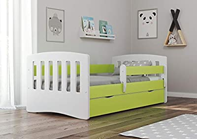 Toddler's bed 140x80 160x80 180x80 Kids Bed with fall protection barrier with mattress included, removable drawers and slatted base for girls and boys - Classic